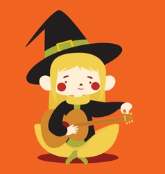 Cute Witch Tuning Acoustic Guitar vector image