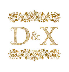 D and x vintage initials logo symbol letters vector