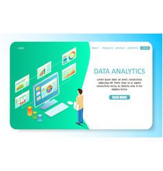 Data analytics landing page website vector