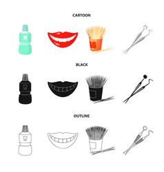 Dental sterile liquid in the jar lips teeth vector