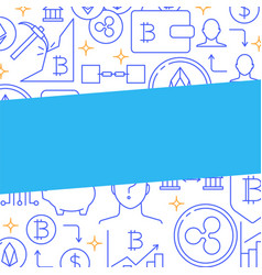 digital currency concept poster in line style vector image