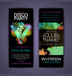 Disco cocktail party corporate identity templates vector