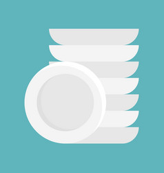 dish and stack of dishes icon flat design isolated vector image