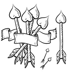 doodle heart arrow vector image vector image