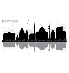 Dortmund germany city skyline black and white vector
