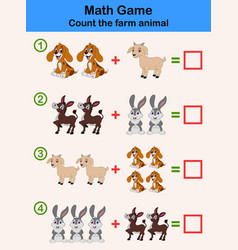Education counting game of farm animals vector
