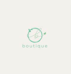 Feminine letter b leaf circle logo design template vector