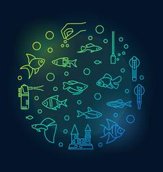 Fish tank or aquarium colored line circular vector