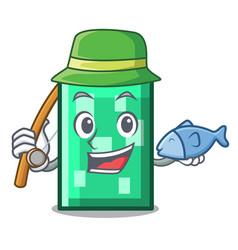 Fishing rectangle mascot cartoon style vector