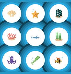 Flat icon marine set alga tentacle shark and vector