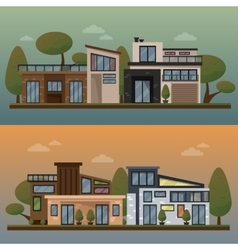 Flat of two family house and vector