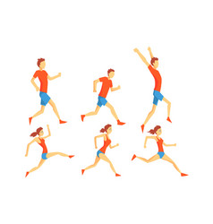 flat set of people in running action vector image