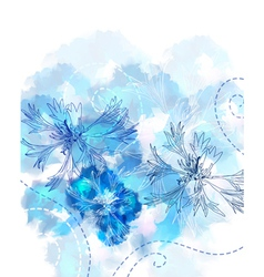 floral watercolor card vector image
