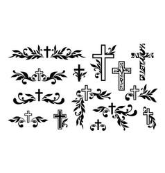 funeral ornamental decorations memorial design vector image