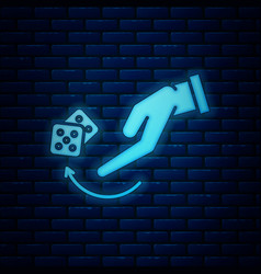 Glowing neon human hand throwing game dice icon vector