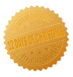 Gold 12 days of christmas medal stamp vector