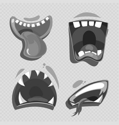 grey monster mouths isolated on transparent vector image