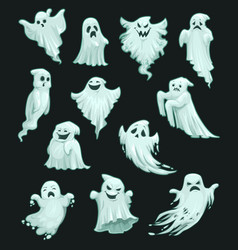 Halloween holiday party cartoon ghosts vector