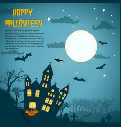 halloween night background with dark castle vector image