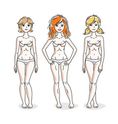 happy attractive young women standing in white vector image