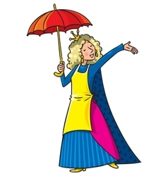Happy singing woman in crown with umbrella vector