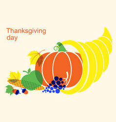 happy thanksgiving day with cornucopia and vector image
