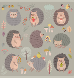 Hedgehog set hand drawn style cute woodland vector