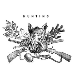 hunting club banner boar and rifle background vector image