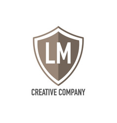 initial letter lm shield design loco concept vector image