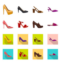 Isolated object of footwear and woman logo set of vector