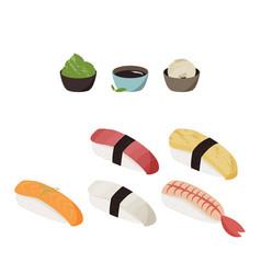 Japanese food sushi set food vector