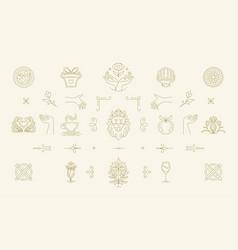 Line women decoration design elements set vector