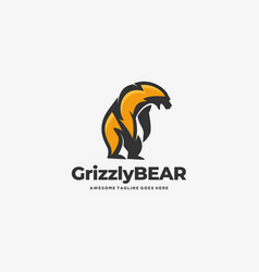 Logo grizzly bear mascot cartoon vector