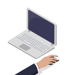 Male hand near open laptop touching computer mouse vector