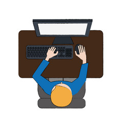 Man on desk with pc topview vector