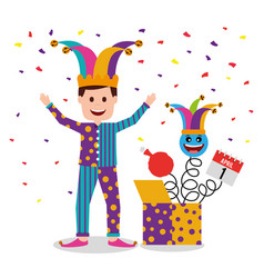 man wearing clothes and jester hat vector image