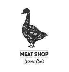 meat shop label goose cuts butchers guide farm vector image