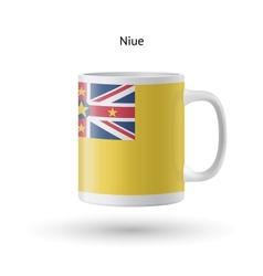 Niue flag souvenir mug on white background vector image