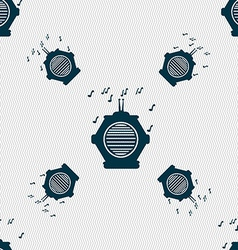 Old analog radio icon sign Seamless pattern with vector