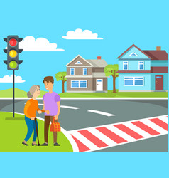 Old woman crossing roadway pedestrian vector