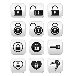 Padlock key buttons set vector