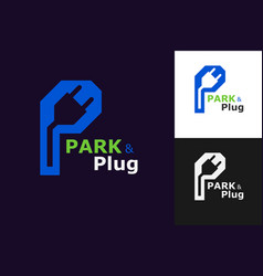 park and plug logo concept template vector image