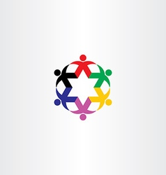 people circle star icon team logo vector image