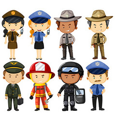 People in different job uniforms vector