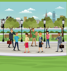 People walking park city background vector