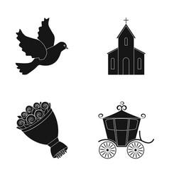 pigeon church wedding bouquet carriage wedding vector image