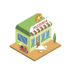 pizzeria building in isometric vector image
