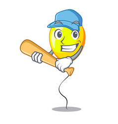 playing baseball yellow balloon cartoon in shape vector image