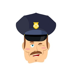 Policeman winks Good cop Mimicry smile on face of vector image