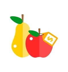 Red apple and pear vector image